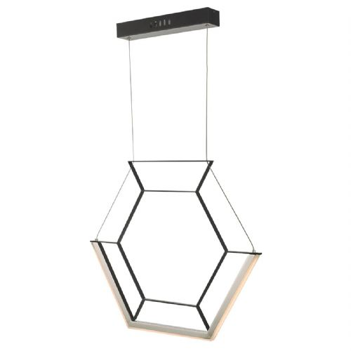 Hexagon 1lt Pendant Black LED, Double Insulated BXHEX0122-17